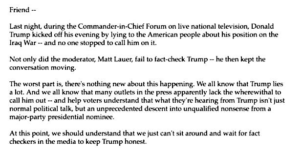 Hillary Clinton email Matt Lauer donations