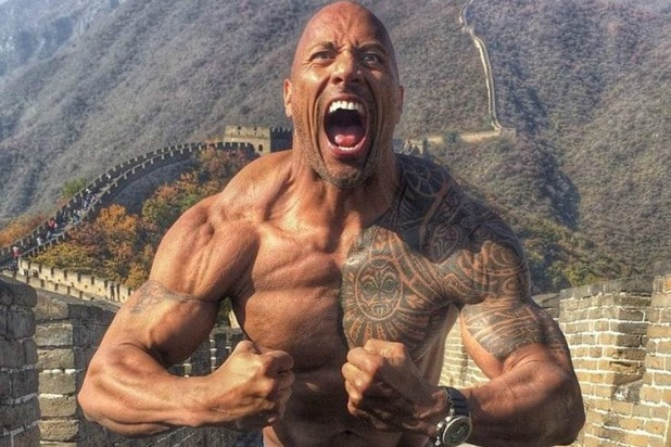 The Rock aesthetic physique flexing
