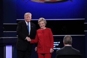 Hillary Clinton Donald Trump First Presidential Debate Hofstra University Hand Shake
