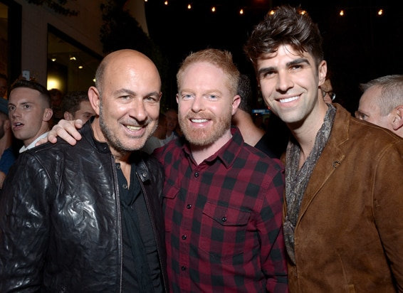 John Varvatos, actor Jesse Tyler Ferguson, and co-host Justin Mikita