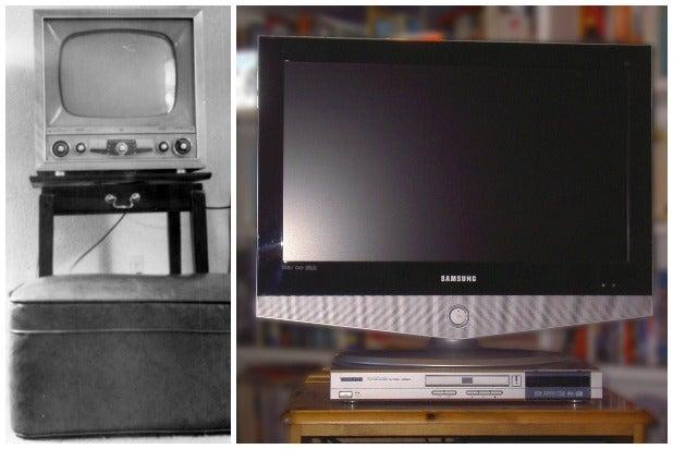 old television set new tv set