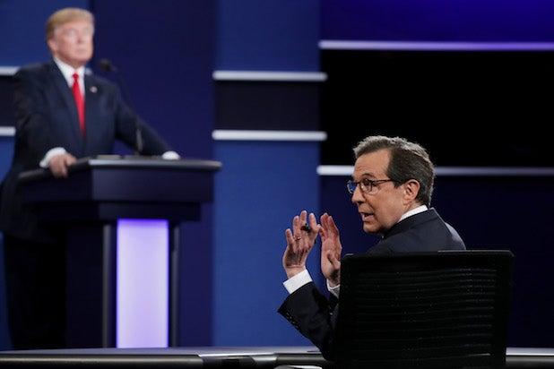 Chris Wallace Shushing Crowd Final Presidential Debate Between Hillary Clinton And Donald Trump Held In Las Vegas