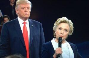 Donald Trump Lurking Behind Hillary Clinton Awkward Moments Debate