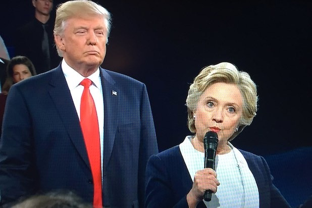 Donald Trump Lurking Behind Hillary Clinton Awkward Moments Debate