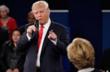 donald trump debate 2 finger point at hillary clinton