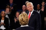 Donald Trump Debate 2 smirk at Hillary Clinton