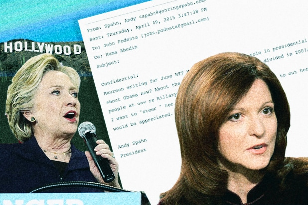 Wikileaks Email Dump: Hollywood Clinton Strategists Works to 'Steer' Maureen Dowd