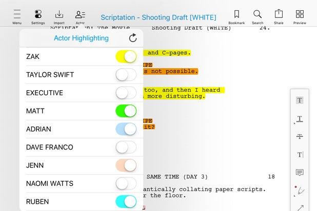 scriptation actor highlighting