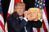 Donald Trump Campaigns Presidential Election with mask harambe