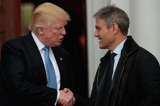 President-elect Donald Trump shakes hands with Ari Emanuel, co-CEO of William Morris Endeavor, on Sunday