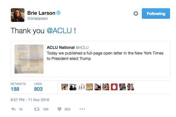 brie larson twitter aclu
