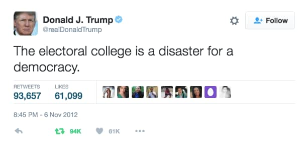 Image result for trump tweets on romney and electoral college