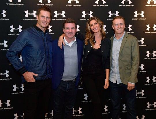 Tom Brady, Under Armour CEO Kevin Plank, Gisele Bundchen and Jordan Spieth