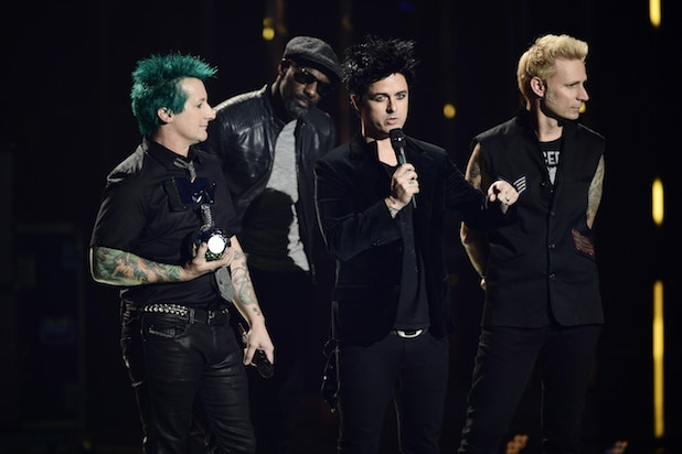 Tre Cool, Billie Joe Armstrong and Mike Dirnt of Green Day MTV EMA's 2016 - Show