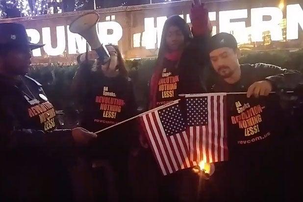 donald trump american flag burning