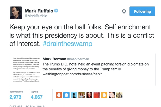 Mark ruffalo tweet