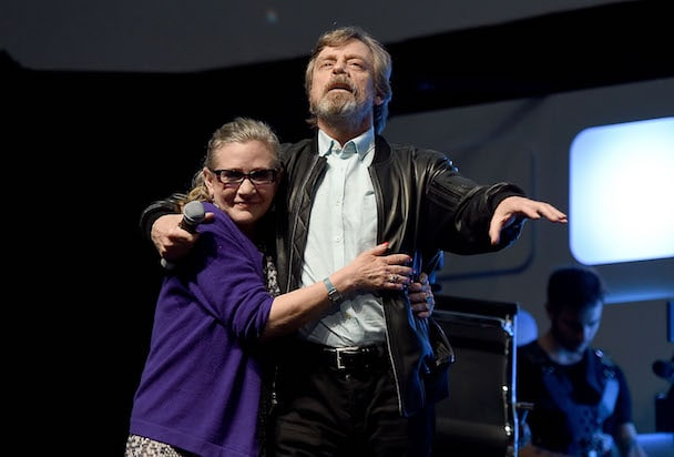 Mark Hamill and Carrie Fisher on stage during Future Directors Panel at the Star Wars Celebration 2016 at ExCel on July 17, 2016 in London, England