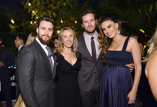 LOS ANGELES, CA - DECEMBER 08: (L-R) Actor Aaron Taylor-Johnson, director Sam Taylor Johnson, and actors Armie Hammer and Elizabeth Chambers attend the 2016 GQ Men of the Year Party at Chateau Marmont on December 8, 2016 in Los Angeles, California. (Photo by Stefanie Keenan/Getty Images for GQ)
