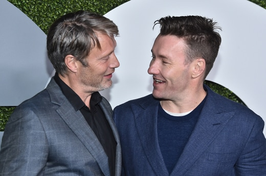LOS ANGELES, CA - DECEMBER 08: Actors Mads Mikkelsen (L) and Joel Edgerton attend the 2016 GQ Men of the Year Party at Chateau Marmont on December 8, 2016 in Los Angeles, California. (Photo by Mike Windle/Getty Images for GQ)