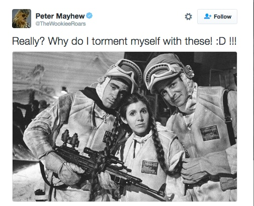 Peter Mayhew Carrie Fisher Leia