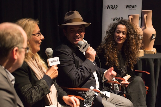 """The Well"" director Lotfi Bouchouchi and actress Layla Metssitane holding a q and a held at the Landmark Theatre hosted by The Wrap."