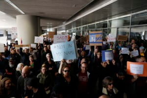 Protestors Rally Against Muslim Immigration Ban At San Francisco Int'l Airport