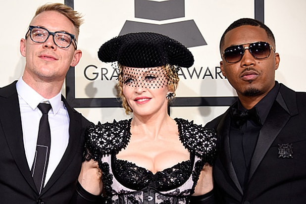 LOS ANGELES, CA - FEBRUARY 08: (L-R) Recording artists Diplo, Madonna, and Nas attend The 57th Annual GRAMMY Awards at the STAPLES Center on February 8, 2015 in Los Angeles, California. (Photo by Jeff Vespa/WireImage)