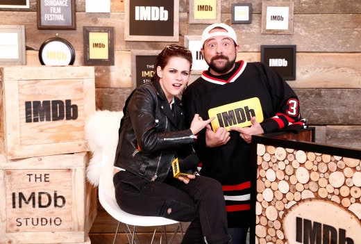 "PARK CITY, UT - JANUARY 20: Actress/director Kristen Stewart of ""Come Swim"" and host Kevin Smith attend The IMDb Studio featuring the Filmmaker Discovery Lounge, presented by Amazon Video Direct: Day One during The 2017 Sundance Film Festival on January 20, 2017 in Park City, Utah. (Photo by Rich Polk/Getty Images for IMDb)"