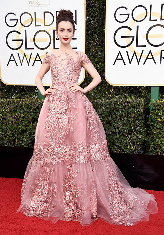 lily collins golden globes