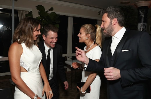 BEVERLY HILLS, CA - JANUARY 08: (L-R) Luciana Barroso, actor Matt Damon, actress Sienna Miller, and actor Ben Affleck attend Amazon Studios Golden Globes Celebration at The Beverly Hilton Hotel on January 8, 2017 in Beverly Hills, California. (Photo by Todd Williamson/Getty Images for Amazon)