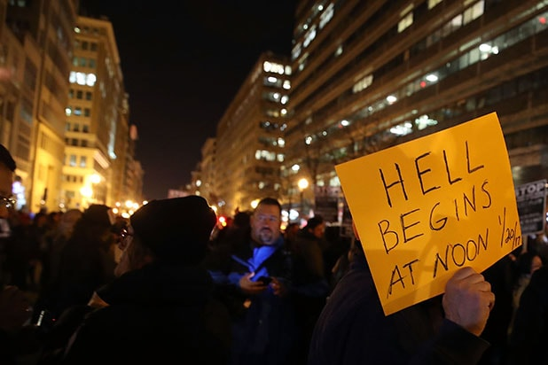 Demonstrators Protest Against Upcoming Inauguration Of President-Elect Donald Trump