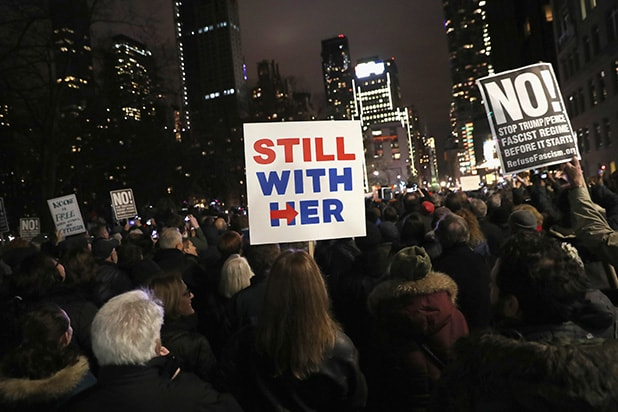 New Yorkers Rally At Trump International Hotel On Eve Of Inauguration