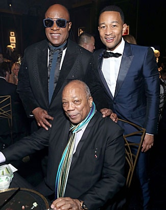Stevie Wonder, Quincy Jones and John Legend at The Art of Elysium