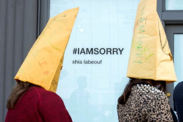 "Shia LaBeouf ""IAmSorry Art Installation"