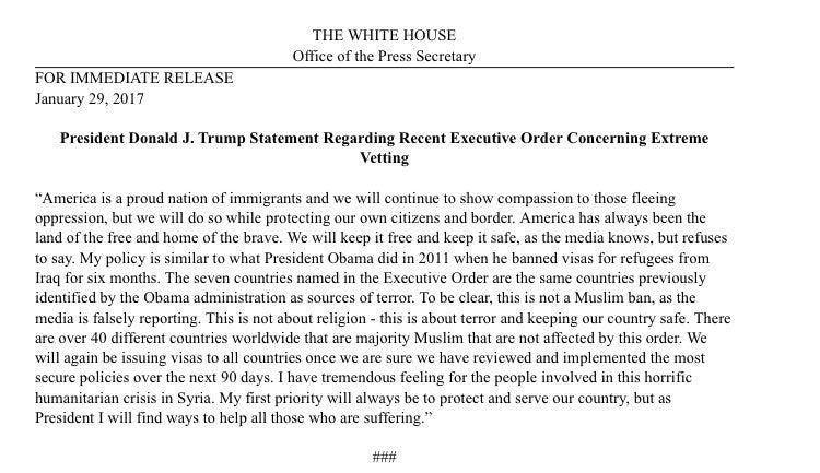 Trump statement not Muslim Ban