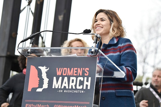 rica Ferrera speaks onstage at the Women's March on Washington on January 21, 2017 in Washington, D