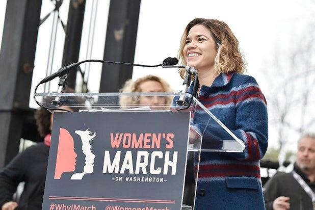 rica Ferrera speaks onstage at the Women's March on Washington on January 21, 2017 in Washington, D