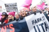 Chelsea Handler, Maria Bello and Charlize Theron at women's march in Park City Utah during Sundance Film Festival