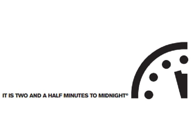 doomsday clock two and a half minutes to midnight