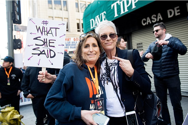 deena katz and jamie lee curtis women's march