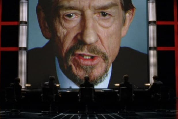 "John Hurt as Adam Sutler in ""V for Vendetta"""