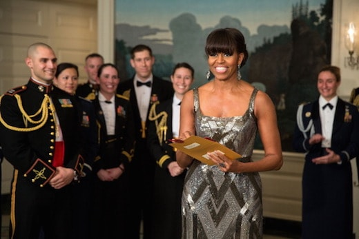 WASHINGTON, DC - FEBRUARY 24: In this handout provided by The White House, First lady Michelle Obama announces the Best Picture Oscar to Argo for the 85th Annual Academy Awards live from the Diplomatic Room of the White House February 24, 2012 in Washington, DC. Obama revealed the award via satellite for the live show being held in Los Angeles. (Photo by Pete Souza/The White House via Getty Images)