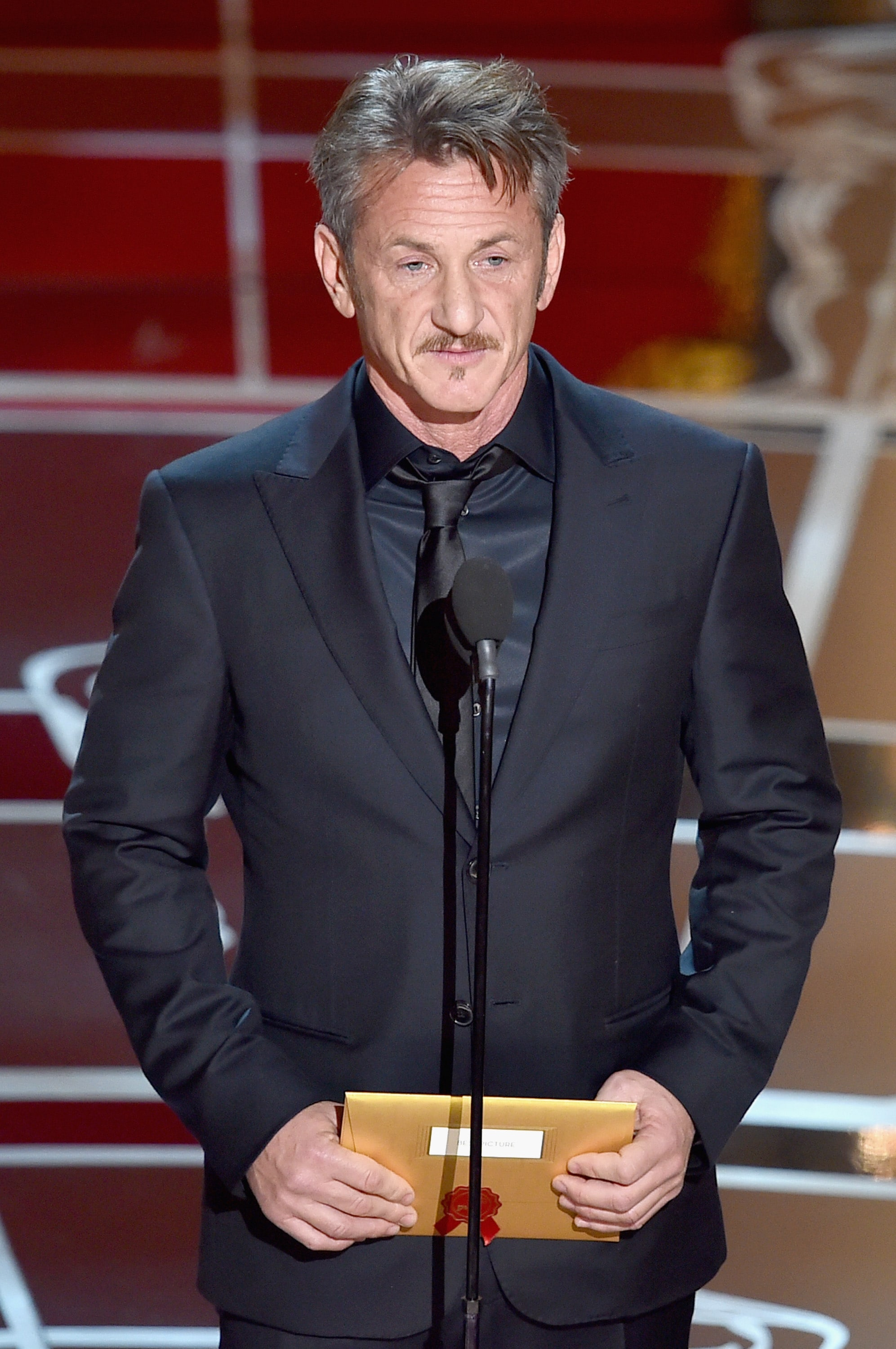 HOLLYWOOD, CA - FEBRUARY 22: Actor Sean Penn speaks onstage during the 87th Annual Academy Awards at Dolby Theatre on February 22, 2015 in Hollywood, California. (Photo by Kevin Winter/Getty Images)
