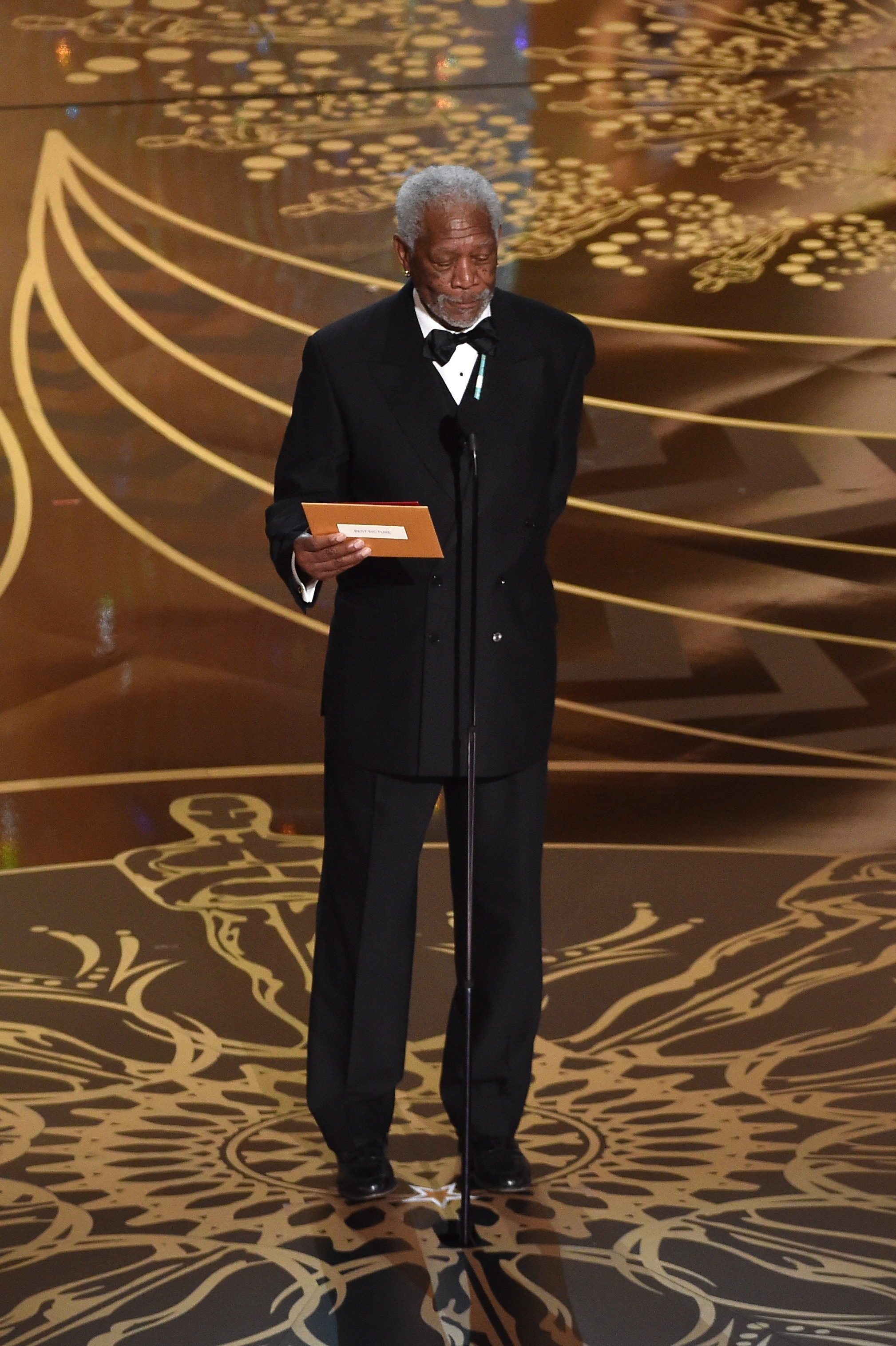 HOLLYWOOD, CA - FEBRUARY 28: Actor Morgan Freeman speaks onstage during the 88th Annual Academy Awards at the Dolby Theatre on February 28, 2016 in Hollywood, California. (Photo by Kevin Winter/Getty Images)