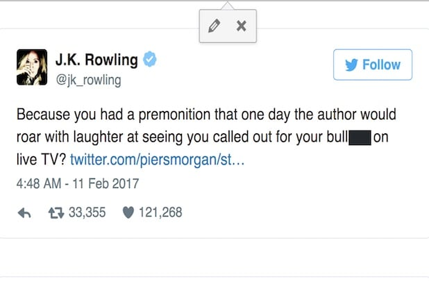 JK Rowling tweet about Piers Morgan