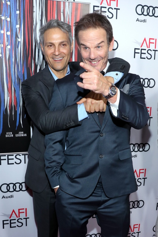 """HOLLYWOOD, CA - NOVEMBER 17: Talent agent and Co-CEO of William Morris Endeavor, Ari Emanuel (L) and director Peter Berg attend the premiere of """"Patriots Day"""" at AFI Fest 2016, presented by Audi at The Chinese Theatre on November 17, 2016 in Hollywood, California. (Photo by Jonathan Leibson/Getty Images for Audi)"""