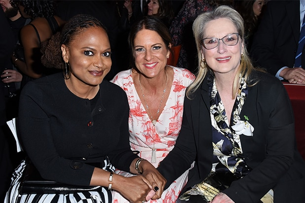 Ava DuVernay, Cathy Schulman, and Meryl Streep celebrated with dozens of female Oscar nominees at Women In Film's pre-show cocktail party at Nightingale Plaza on Friday night, (Getty Images)