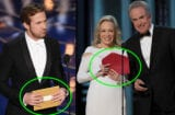 "Ryan Gosling presents an Oscar in 2016 with the old ""gold"" envelope which had a large category sticker on the front. At right, Faye Dunaway and Warren Beatty had the newly designed red envelope in hand - for the wrong category - when they awarded ""La La Land"" in error on Sunday night, February 26, 2017."
