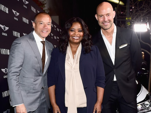 """LOS ANGELES, CA - FEBRUARY 24: (L-R) SVP and Head of Genesis Brand Manfred Fitzgerald, actor Octavia Spencer and publisher and CRO, Vanity Fair Chris Mitchell attend Vanity Fair and Genesis Celebrate """"Hidden Figures"""" on February 24, 2017 in Los Angeles, California. (Photo by Emma McIntyre/Getty Images for Vanity Fair)"""