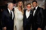Robert Kraft, Ciara, host Elton John, and Russell Wilson inside the 25th Elton John Oscar Night Viewing party on Sunday night, February 26, 2017. (Michael Kovac/Getty Images)